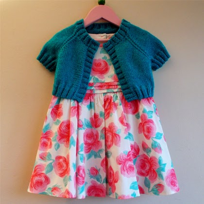 Turquoise Sparkle Girl's Short Cardi / Shrug