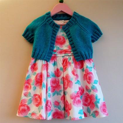Turquoise Sparkle Girl's Short Cardi / Shrug