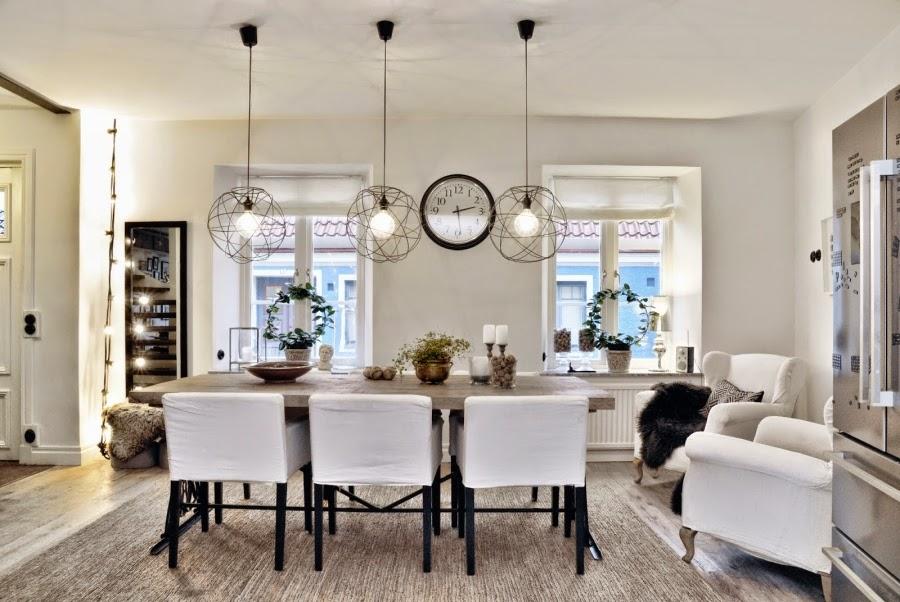 wystrój wnętrz, home decor, wnętrza, mieszkanie, dom, aranżacje, białe wnętrza, jadalnia, stół, lampa