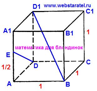 Куб и угол между прямыми. Обозначения вершин куба, диагональ куба, линия на боковой грани куба.