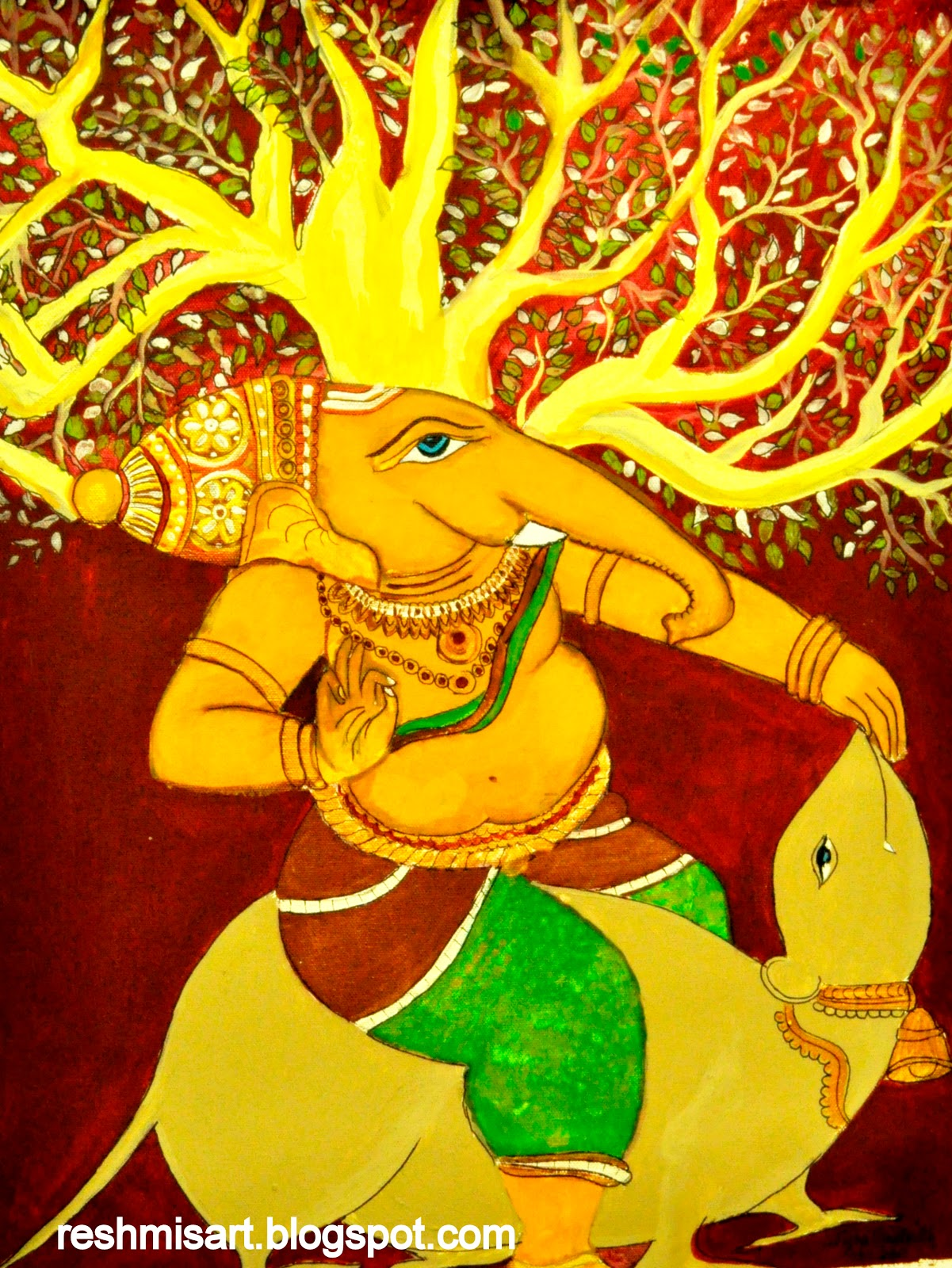 Reshmi 39 s art my kerala murals for Mural art of ganesha
