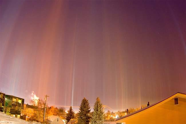 Pilares de luz, Moscú, Rusia