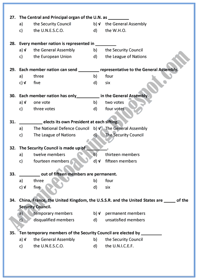 English-XI-The-United-Nations-Mcqs