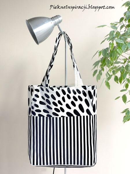 Własnoręcznie szyte torby na zamówienie, do kupienia, na prezent, dla kobiety, kup teraz, torba, torebka, na ramię, nietypowa, czerń, biel, paski, odważneJustyna Wójcik