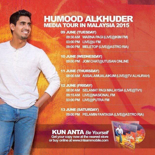 media tour, jadual perjumpaan dengan Humood AlKhudher, live at Meletop, Utusan Online, Pelamin Fantasia, Alhijrah