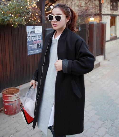 [Miamasvin] Casual Black Zip-Up Coat