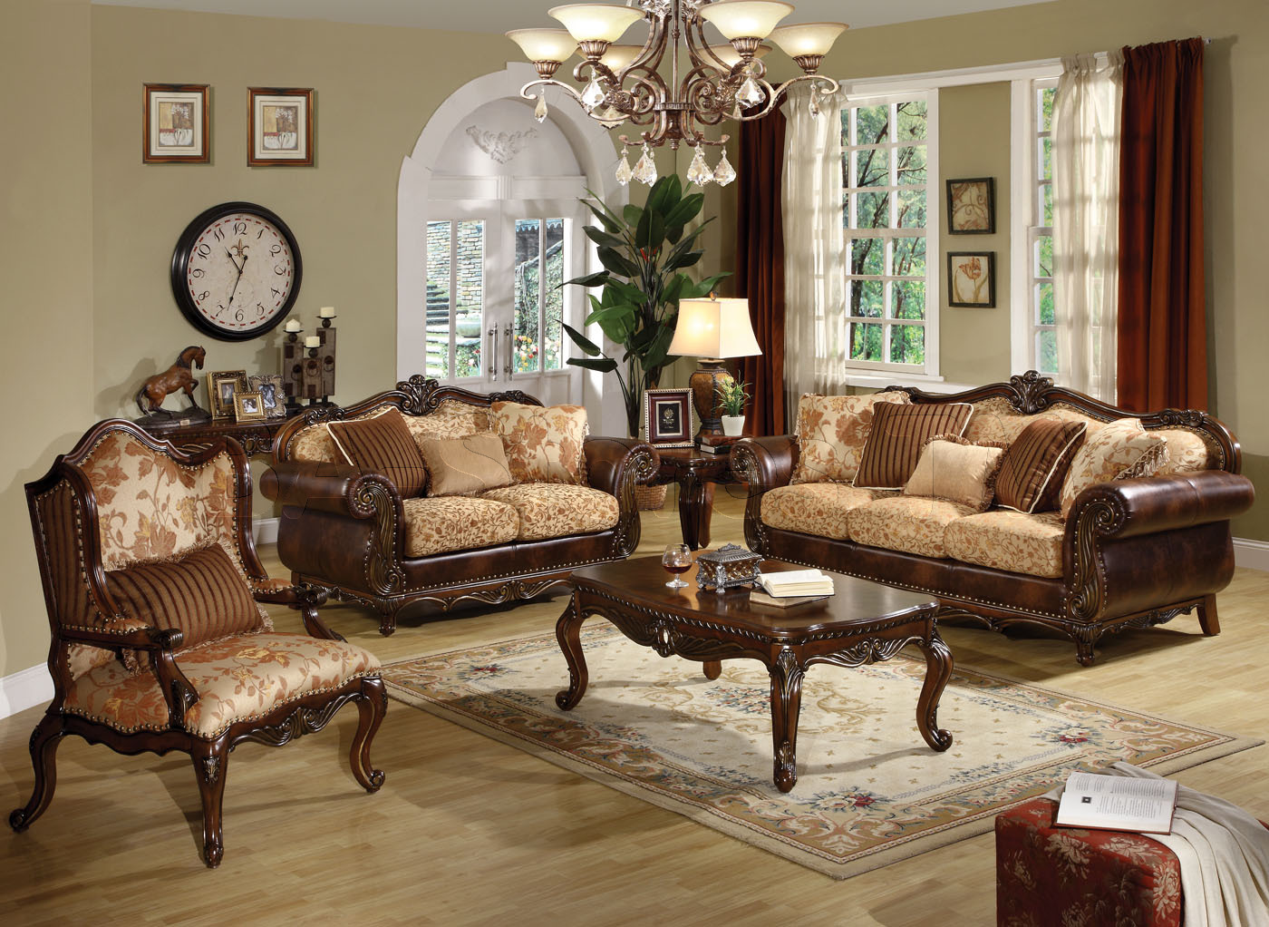 Traditional Dark Wood Furniture Styles Elegant Classic Living Room Design With Antique Lighting Hanging And Bamboo