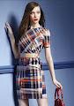 2016 Short Sleeve Checkered Zip-up Collar OL Dress