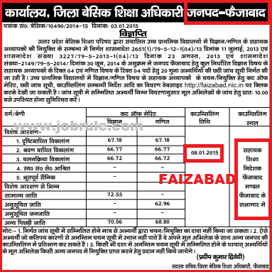 UP 29334 JRT Bharti 6th Counseling 6th Cut Off marks of Devipatan & Faziabad Division 2015