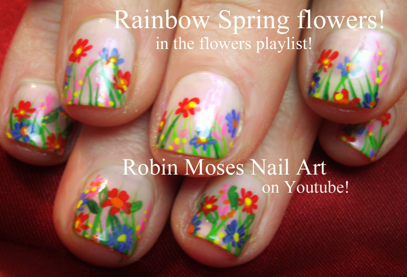 Short Nail Art Colorful Flower Design Spring Garden Nails With Flowers Robin