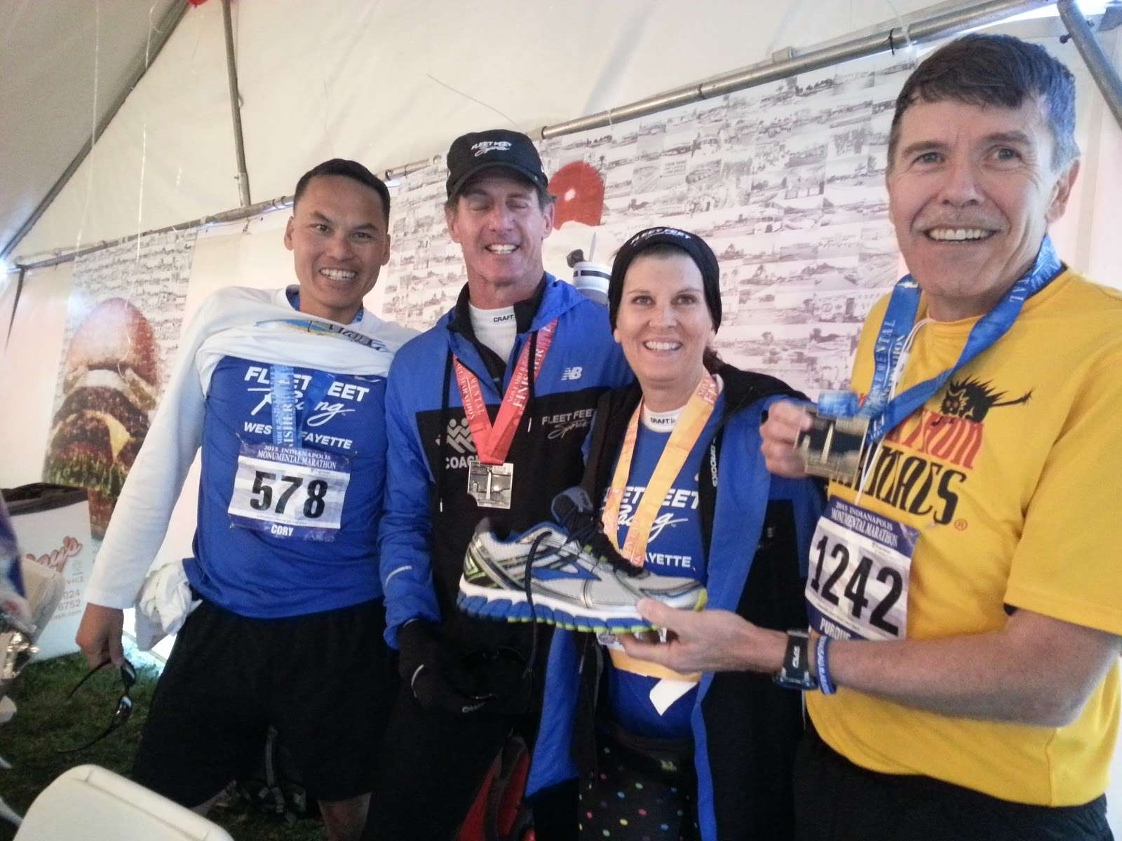 Shortly thereafter michelle came across the finish line in 4 15 a 50 minute pr over the marathon she ran in carmel in april she was also thrilled