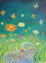 Flores y mariposas en los senderitos....