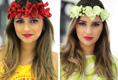 coroa de orquídea para cabelos Juana Moura