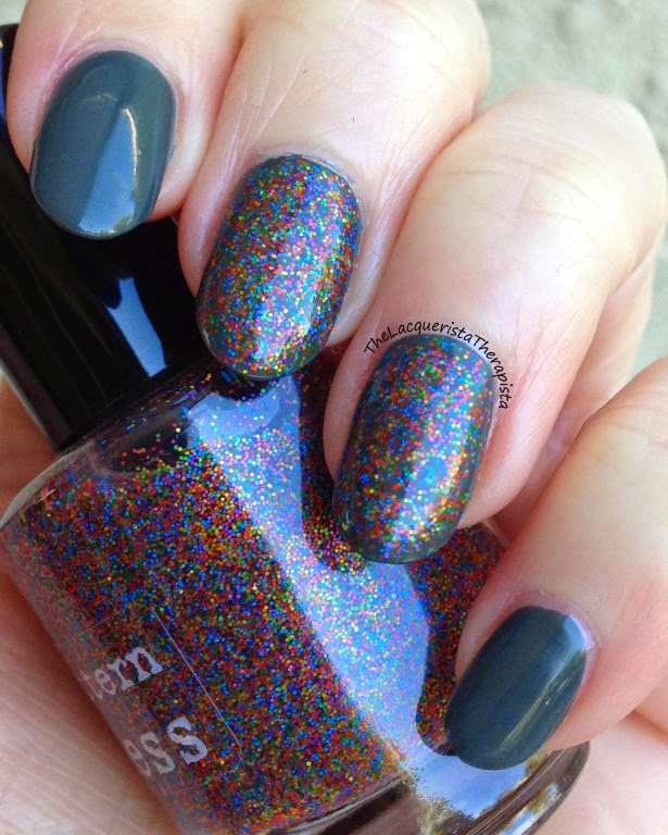 Nail Pattern Boldness, Le Big Party, Zoya, Evvie, rainbow, glitter, green