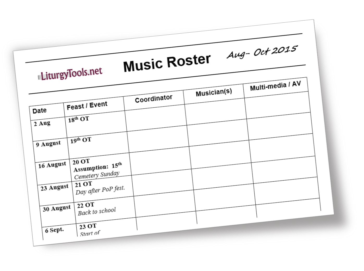 Blank Template For A Church Music Roster Or Schedule  Blank Roster