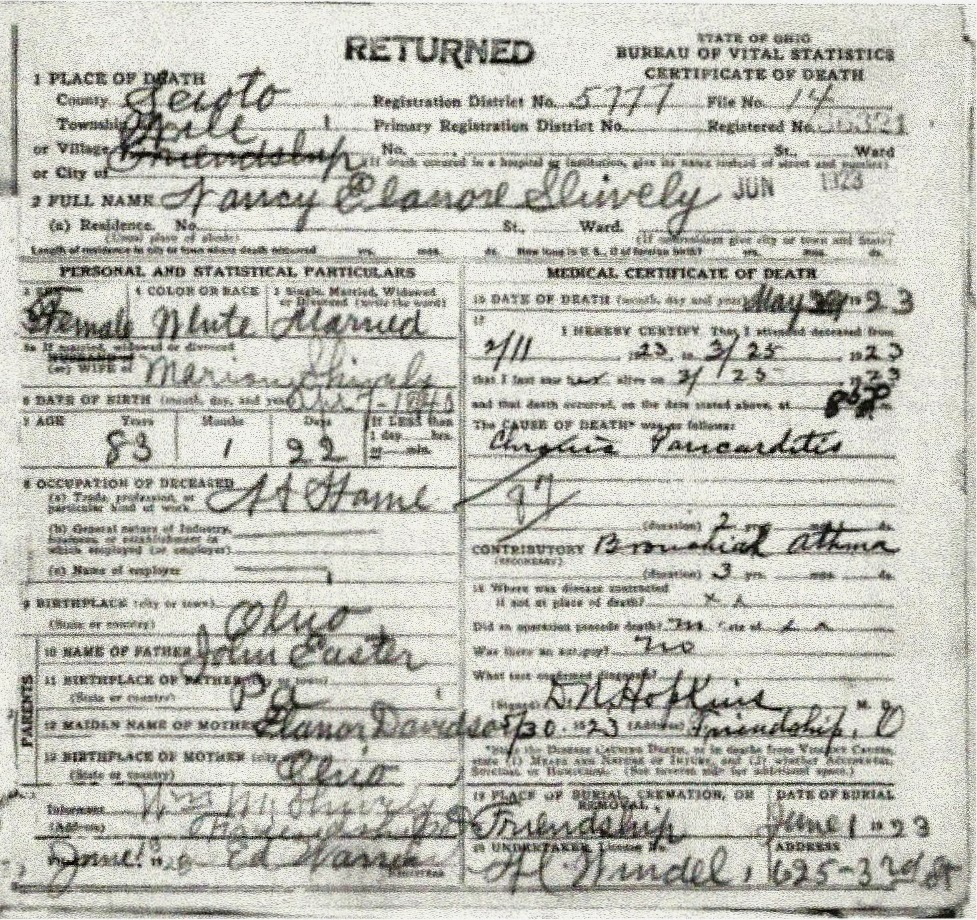 Shively Family Genealogy: Nancy Elanore Easter, Wife Of William ...