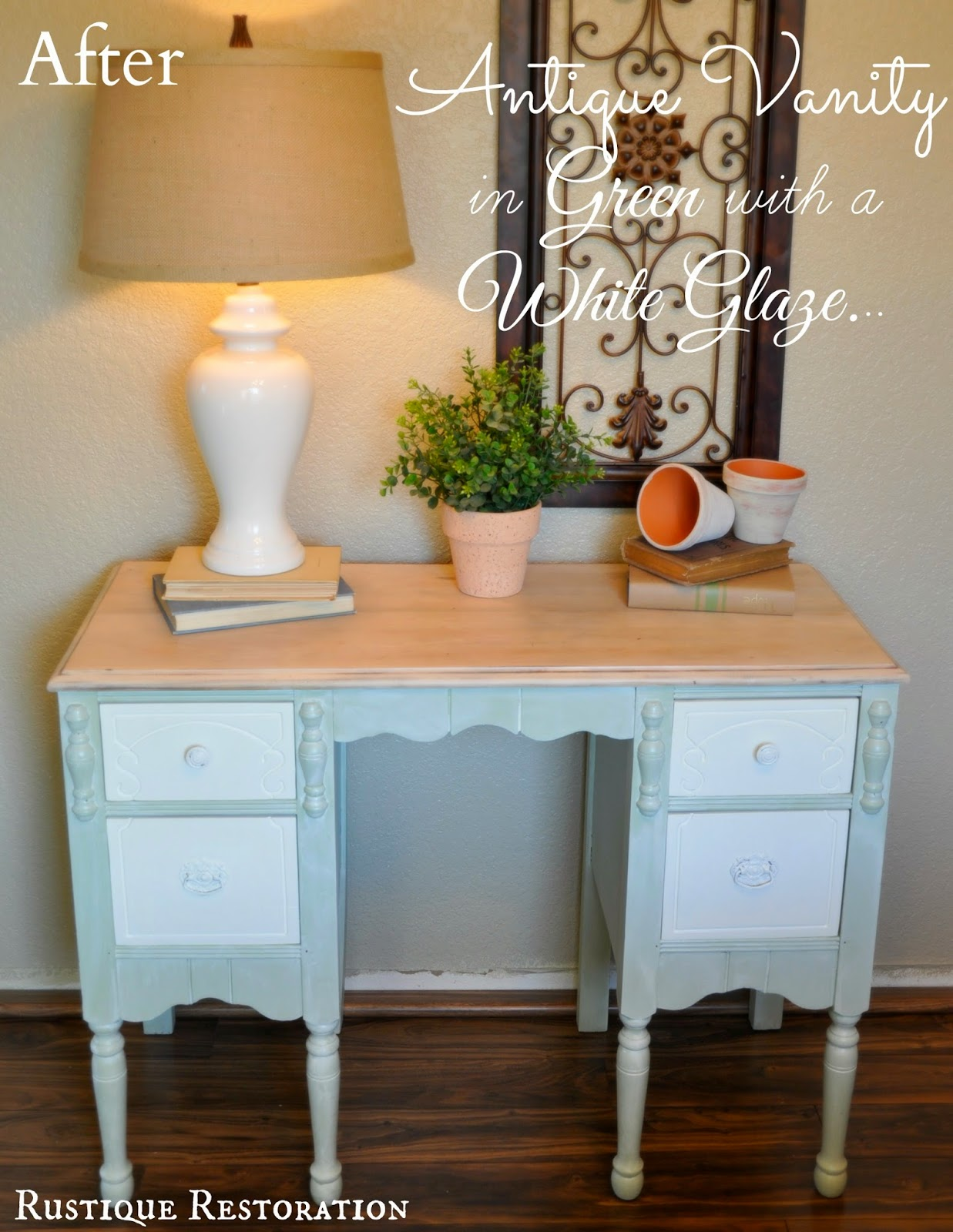 i thinned down my cream paint with a little water and then did a white wash glaze to the whole dresser including the bare wood top