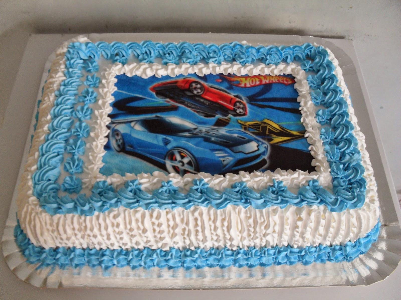 bolo de aniversário com papel de arroz do hot wheels