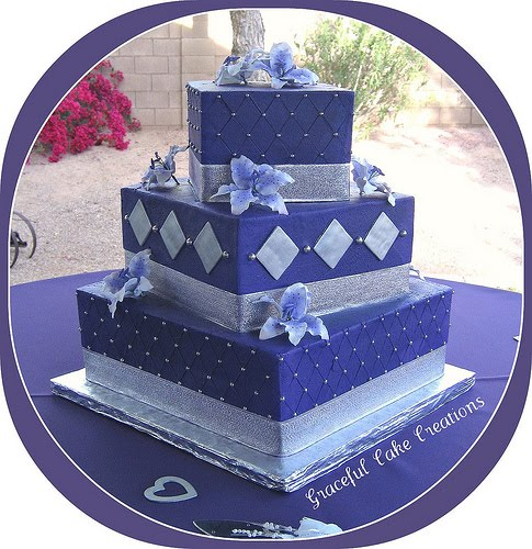 Purple and Silver Square Wedding Cake To see daily pictures recipes