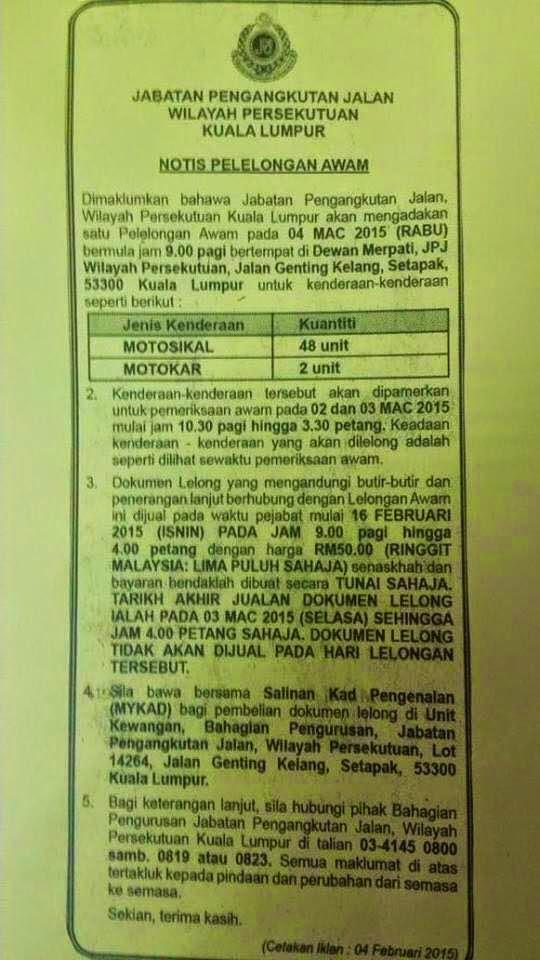 Lelongan Awam JPJ W P Kuala Lumpur