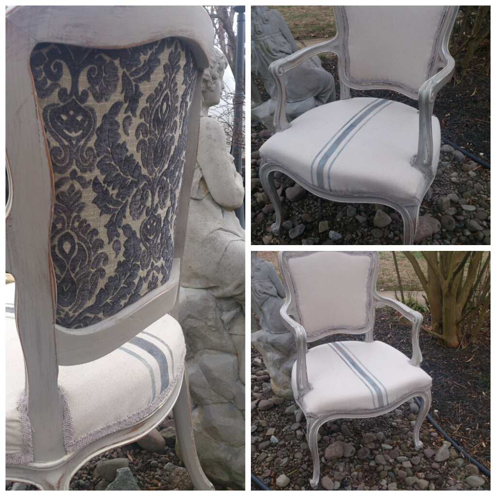 Tattered Elegance Faux Grain Sack French Chairs