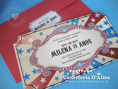 convite ingresso circo vintage