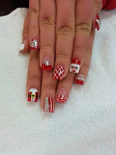 christmas special santa acrylics led polish design red nail art design
