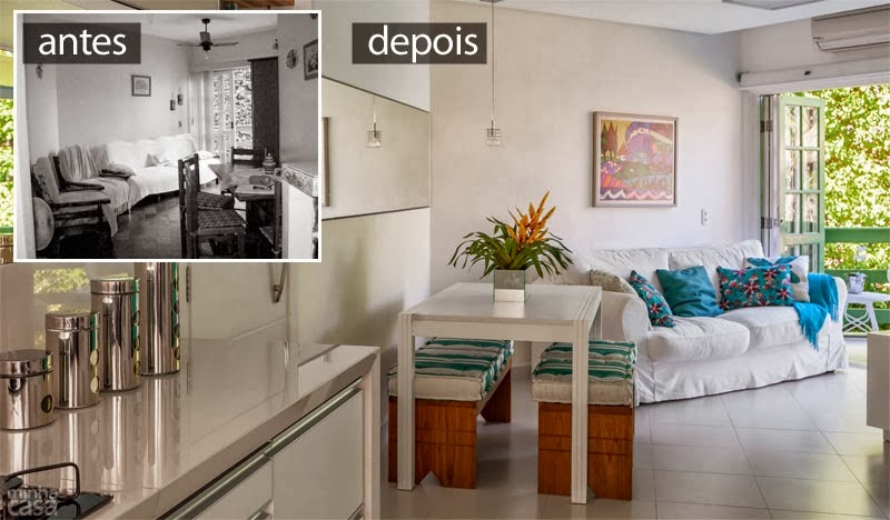 decoracao de ambientes pequenos e integrados : decoracao de ambientes pequenos e integrados:Antes e Depois – Apartamento na praia tem ambientes integrados e