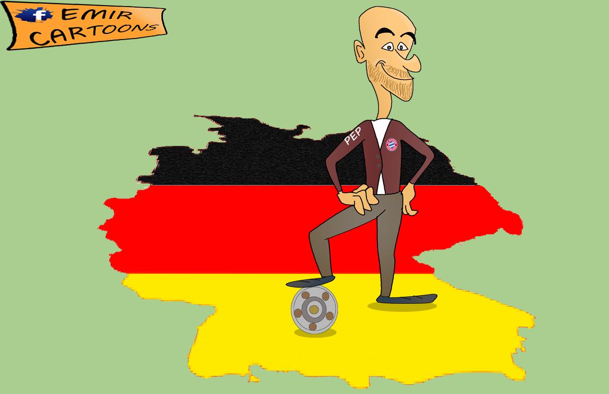 Guardiola,Bundeslige,Bayern munchen,emir balkan cartoons, fudbal,karikature,karikatura dana,omar momani, cartoons football,