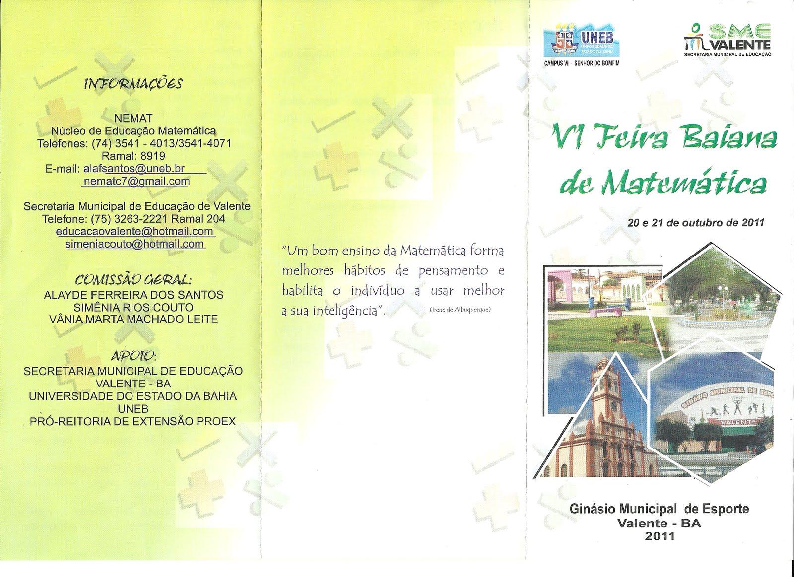 Folder Feira De Matematica 01 Baiana