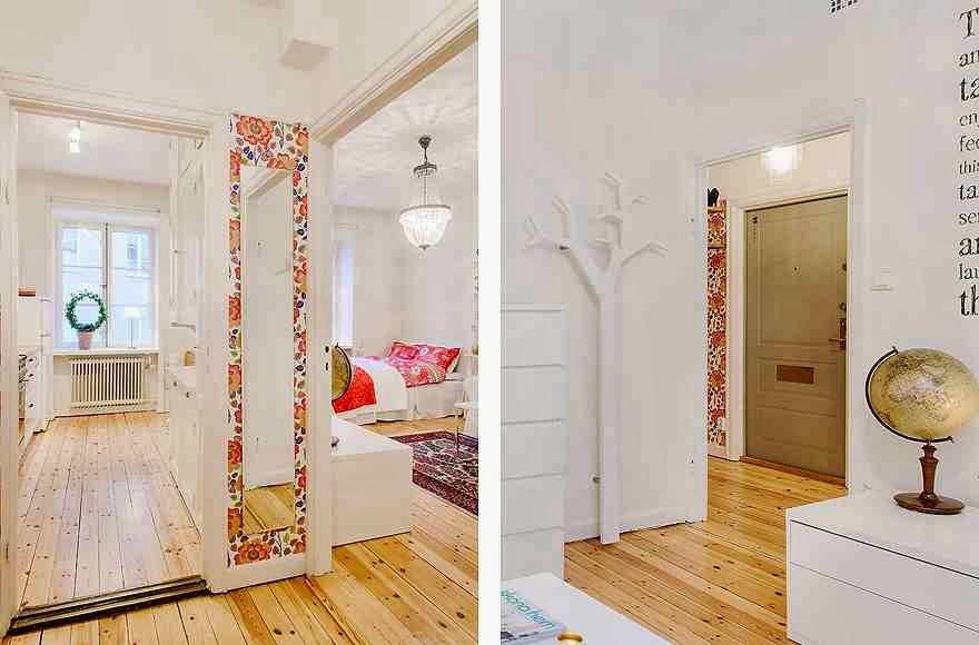 Aranżacja białego wnętrza w skandynawskim stylu, kolorowe tapety w białym wnętrzu, kolorowe dodatki i białe ściany
