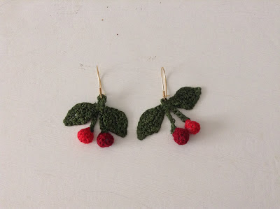 crochet cherries earrings