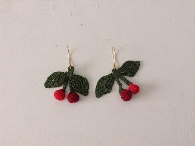 crochet cherries earrings