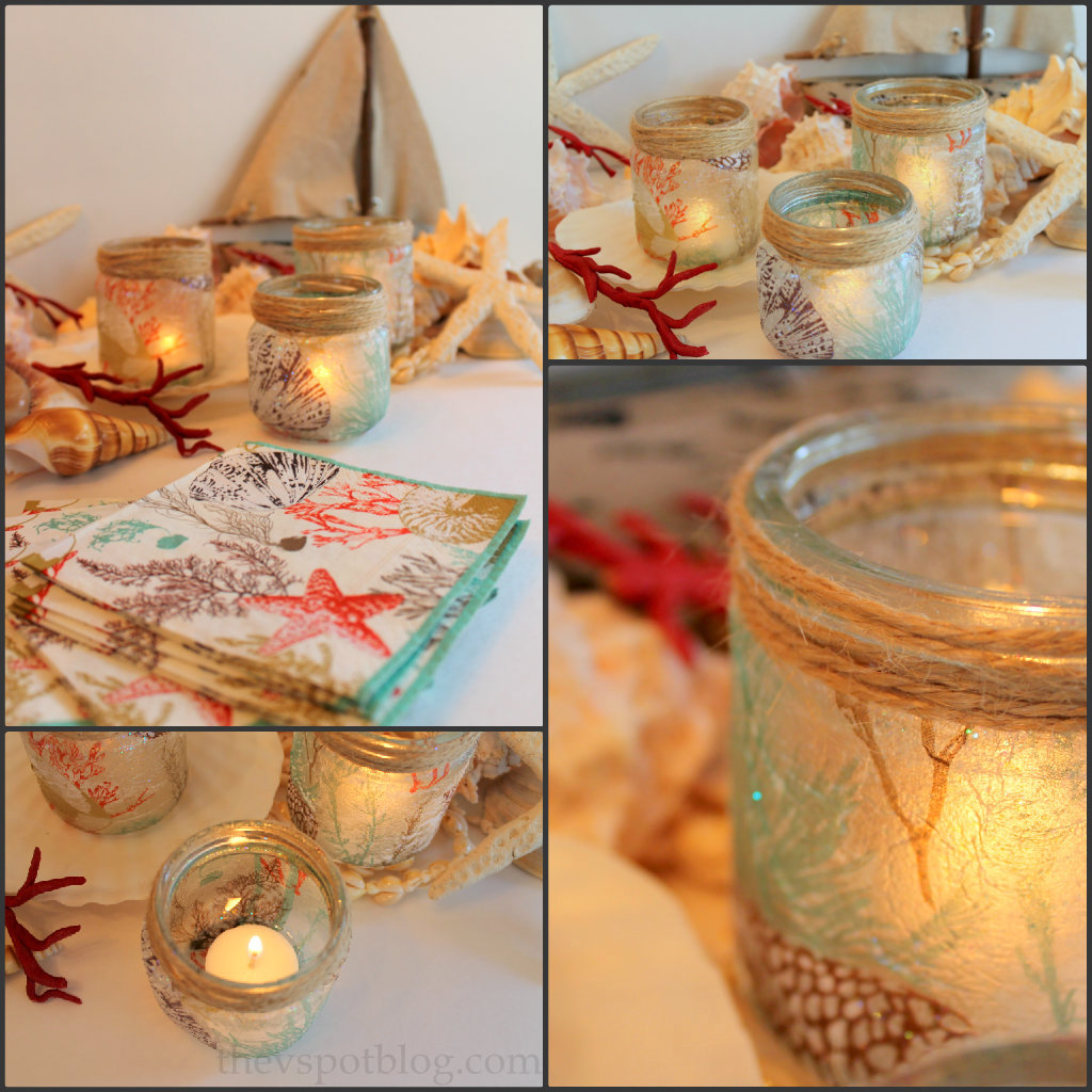 sea inspired diy candle holders made from glass jars. Black Bedroom Furniture Sets. Home Design Ideas