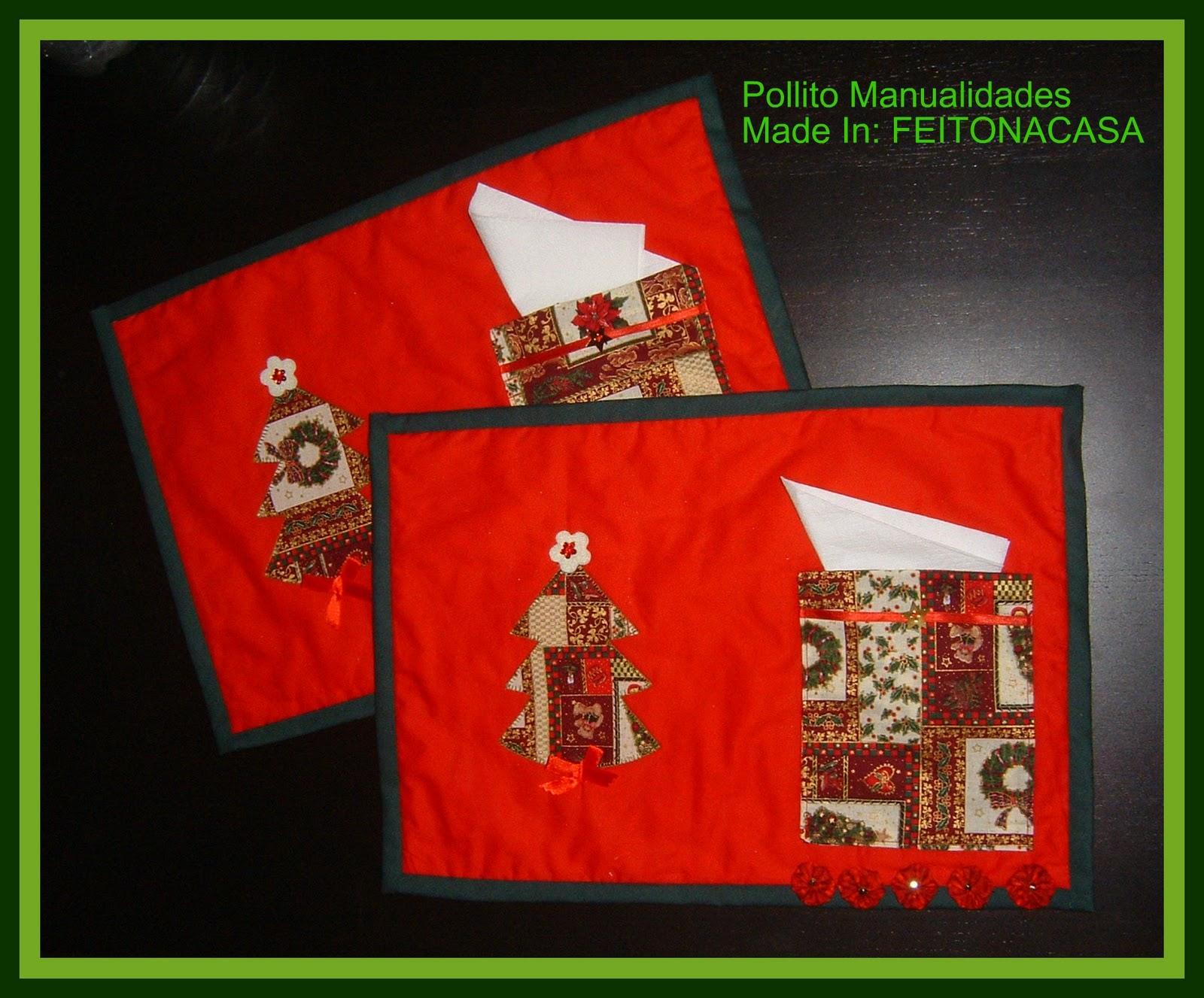 juego de dos manteles individuales decorados con yo-yos de patchwork