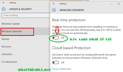 Hướng dẫn tắt Windows Defender Windows 10