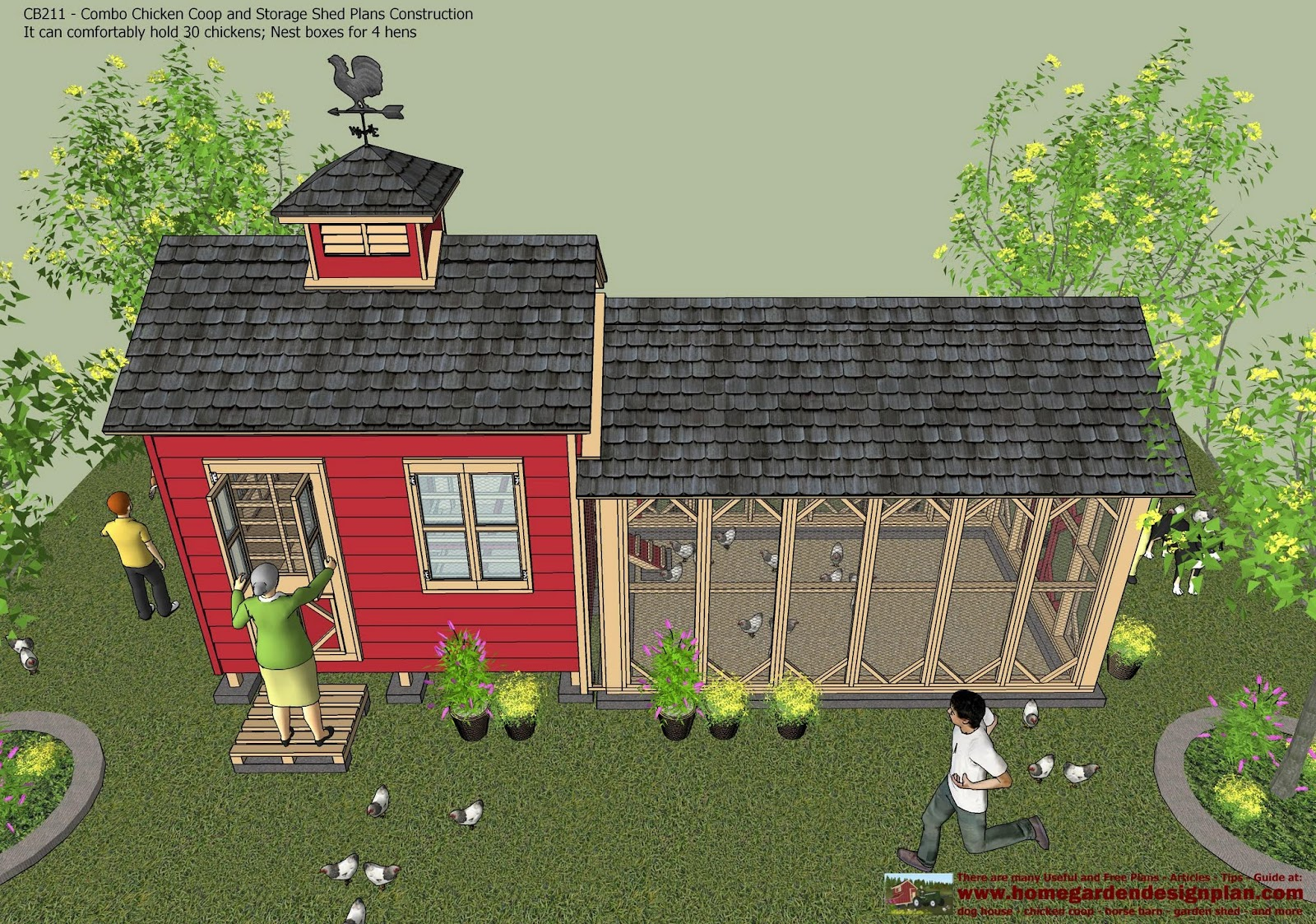 CB211   Combo Chicken Coop Garden Shed Plans   Chicken Coop Plans   Storage  Shed Plans Construction