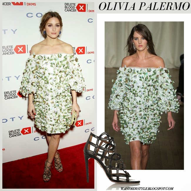 Olivia Palermo in white and green floral embroidered mini dress and black sandals gala april 16 want her style red carpet
