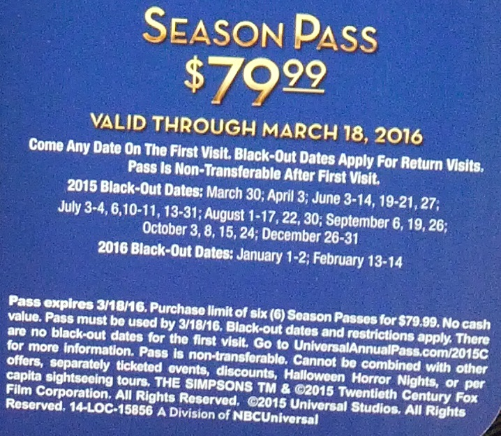 Terms and Conditions for the Universal Studios 50th Anniversary 2015 Season Pass at Costco