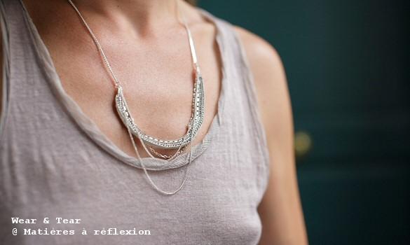 Collier blanc multi-chaines Wear & Tear