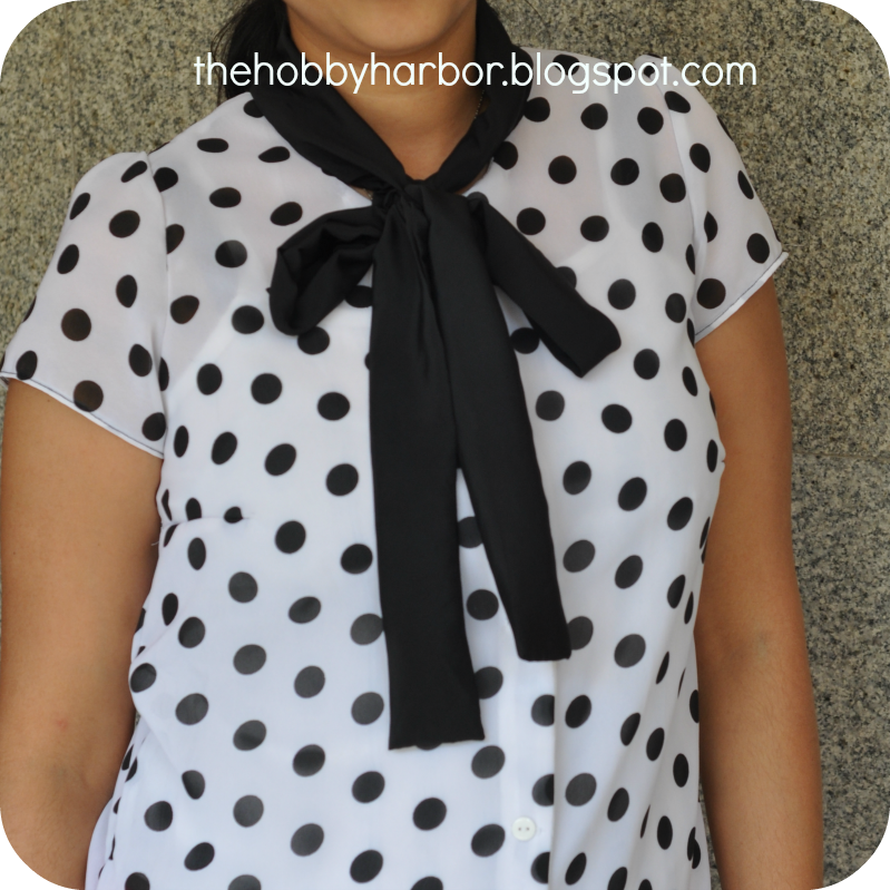 Blouse made form ottobre magazine with polka dot and bow tie with sheer fabric
