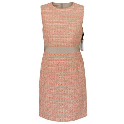 giambattista valli orange tan tweed dress