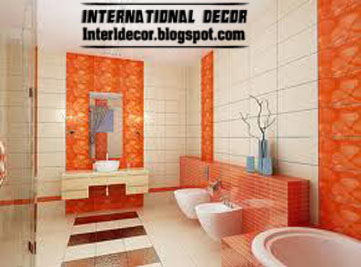 orange wall tile designs for bathroom color schemes