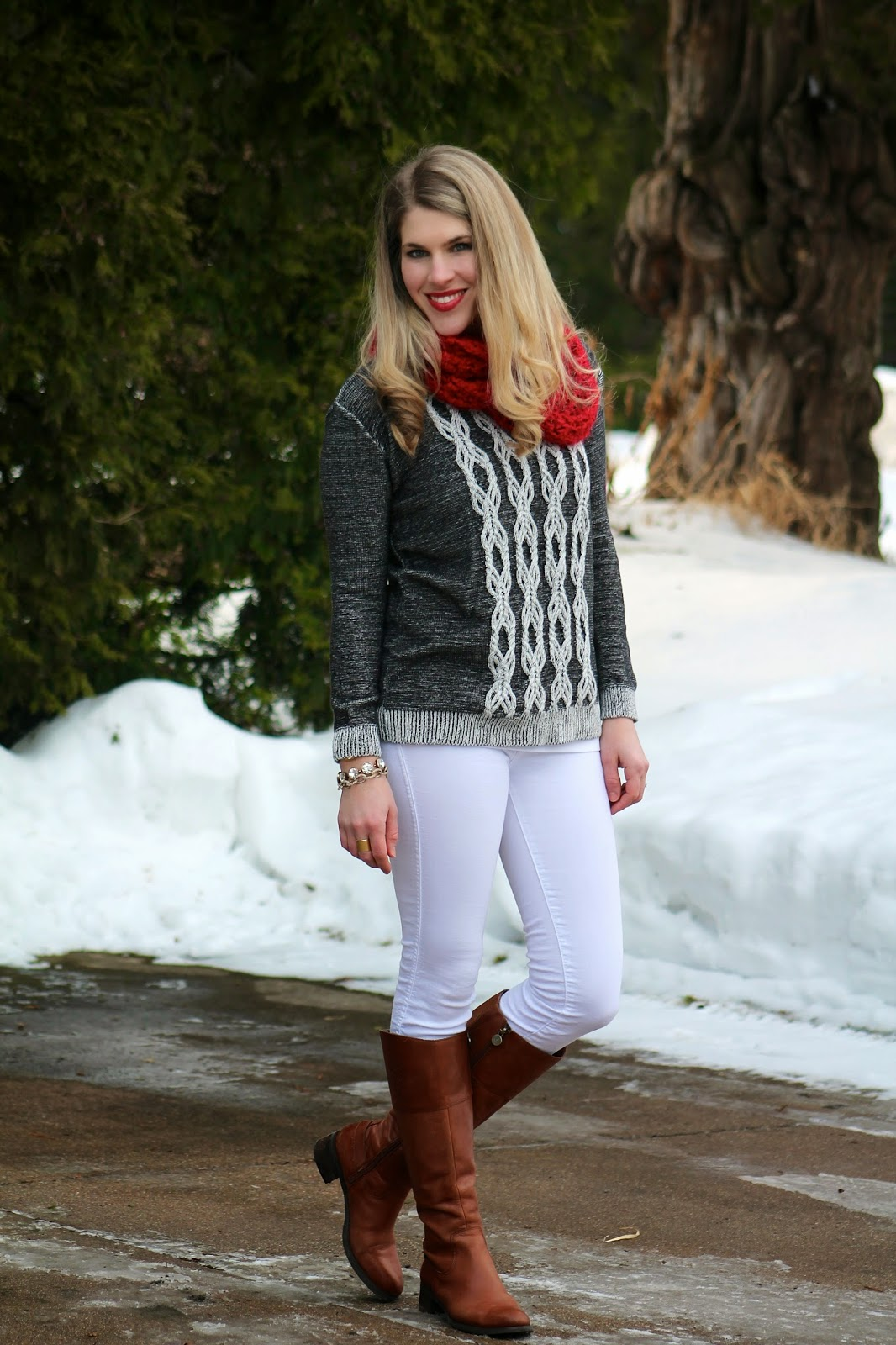 grey sweater red scarf white jeans
