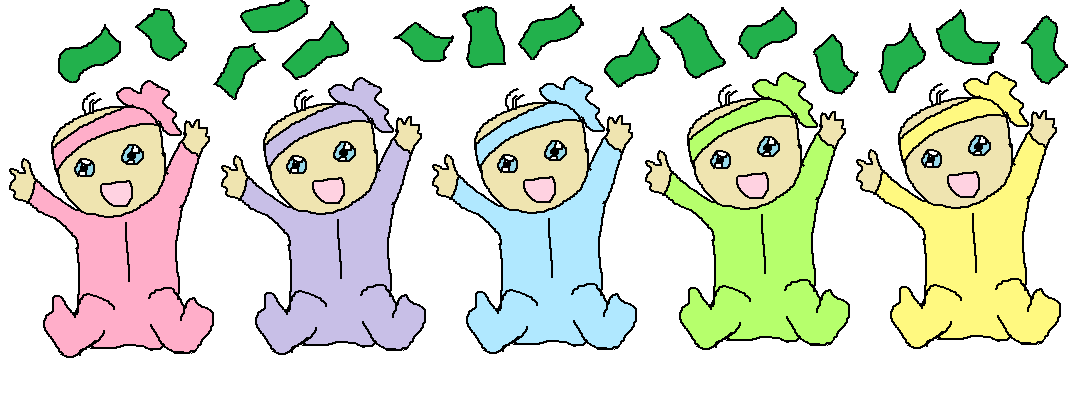 Five babies lying side by side, all throwing money in the air.