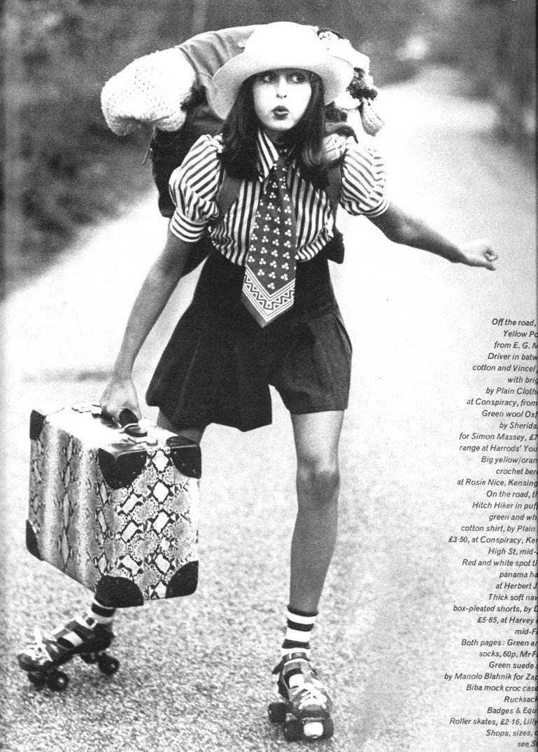 Roller skates vintage - A Gorgeous Vogue Card Featuring A Photograph Of A Girl Skating With Her Luggage Photography By Jean Francois Jonvelle 1972