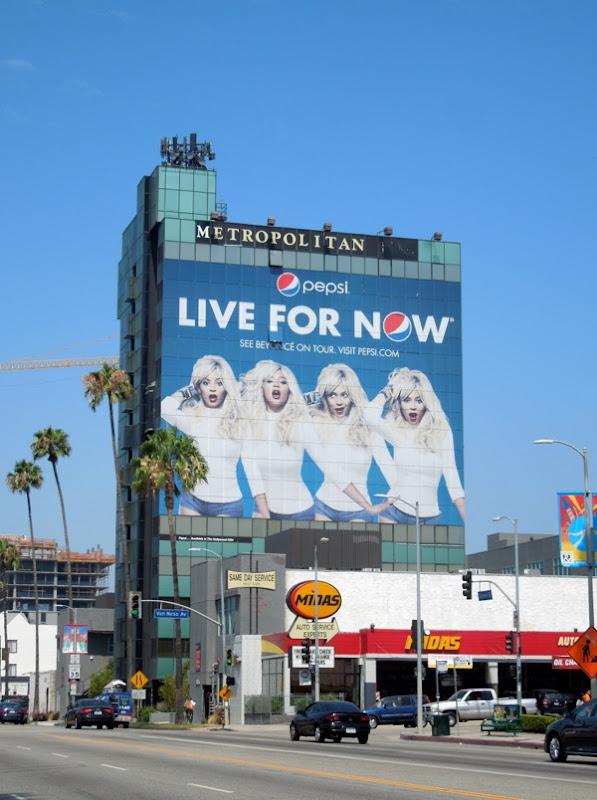Giant Beyonce Pepsi Live Now billboard