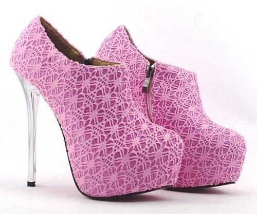 moda corte costura renda moldes sapato rosa ankle boot