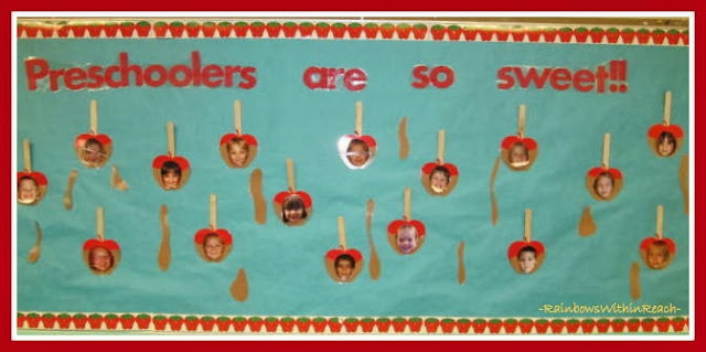 Preschool Back-to-School Apple Themed Bulletin Board via RainbowsWithinReach