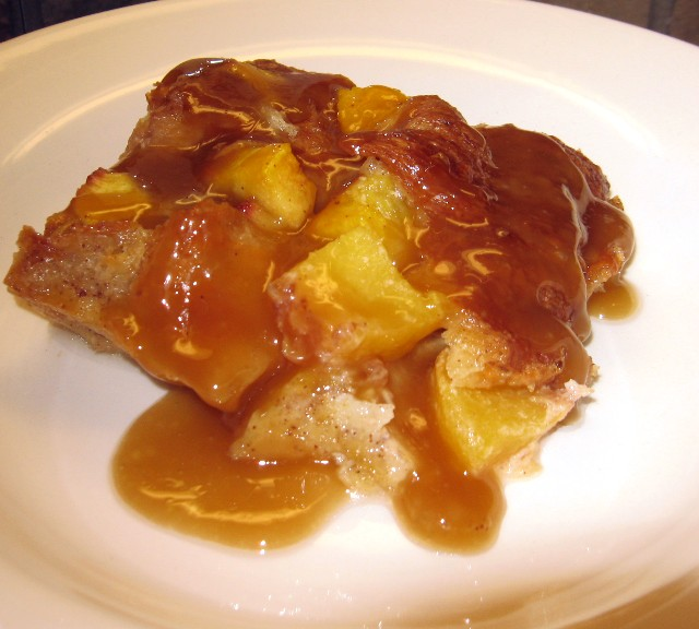 Coleen's Recipes: CROISSANT PEACH BREAD PUDDING and BUTTER RUM SAUCE
